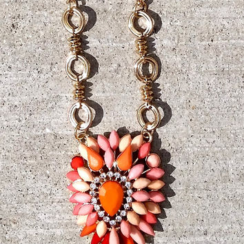 Shield Pendant Necklace- Coral