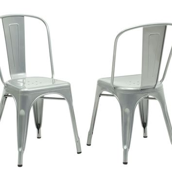 "Silver Galvanized Metal 33""H Cafe Chair (Set Of 2)"