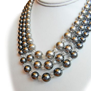 Shades of Gray Pearl Bead Necklace Triple Strand Mid Century Signed Japan