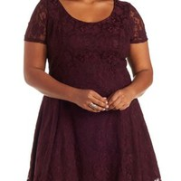 Plus Size Burgundy Lace Skater Dress by Charlotte Russe