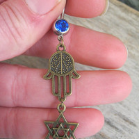 Hamsa Star of David Belly Ring, BRONZE Hamsa Belly Button Ring, Judaism Belly Piercing, Hand of Fatima, Yoga Inspired, Star Body Jewelry