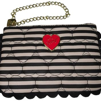 Betsey Johnson Women's/Girl's *Scallop*Wristlet, Black/White Polka Dots,Stripes