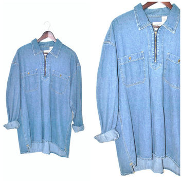 vintage CHAMBRAY shirt 80s 90s GRUNGE surfer style UNISEX pull over denim long sleeve top os