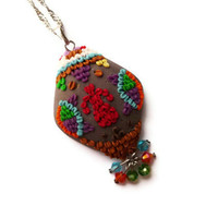 Tulip in Whirling Dervish Necklace, Oriental Pendant, Turkish Ikat Necklace, Traditional, Boho Jewelry, Colorful, Swarovski Crystal, Tribal