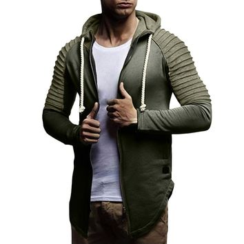 Trendy FeiTong Jacket Man 2018 Autumn Winter Long Sleeve Patchwork Zipper Hoodie Pullover Blouse Tops Windbreaker Winter Jacket Men AT_94_13