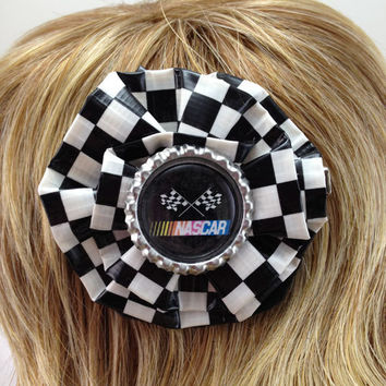 NASCAR Checkered Flag Duct Tape Hair Clip by PyrateWench on Etsy