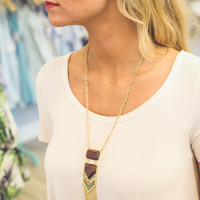 Wooden Arrow Necklace and Earring Set in Gold