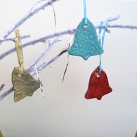 Christmas Ornaments, Set of 3, Bells,Blue, Celedon, Rust