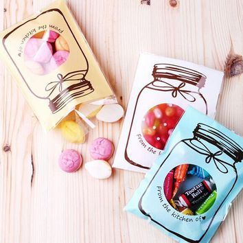100Pcs/Set Christmas wedding candy bag Self-Adhesive Biscuits Cookies Cakes Food Wrapping Packaging Bag