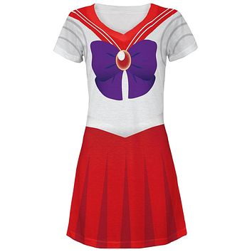 Anime Mars Sailor Costume Juniors V-Neck Beach Cover-Up Dress