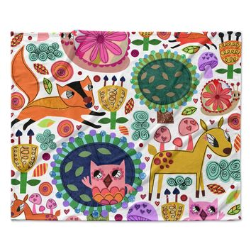 "Jane Smith ""Woodland Critters"" Colorful Cartoon Fleece Throw Blanket"
