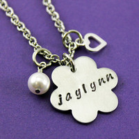 Personalized Handstamped Flower  Necklace with Pearl and Tiny Heart Charm