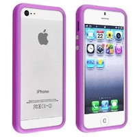Insten Bumper TPU Case with Aluminum Button Cover compatible with Apple iPhone 5 / 5S, Purple