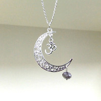 Silver Moon and OM Necklace, Crescent Moon Necklace, Purple Crystal Necklace, Celestial Necklace, Moon Jewellery, Moonlight, Metaphysical