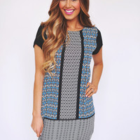 BLUE/BLACK PRINTED SHIFT DRESS