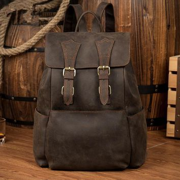 brand genuine leather backpacks men women lovers school bag brand designer student backpack men vintage handmade book bag bolso
