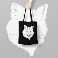 Black Tote Bag Canvas Printed Animal, Market Bag, Cotton Tote Bag, Large Canvas Tote, Funny Grocery Bag, Designer Tote Bag canvas