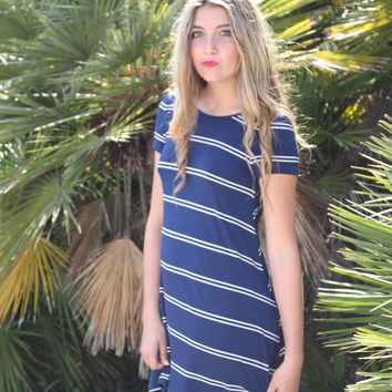 Navy and White Striped Olivaceous Swing Dress