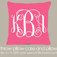 Monogram throw pillow pink fabric with white print pillow - great girls birthday gift