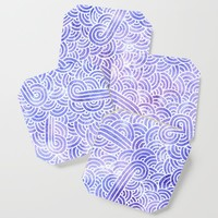 Lavender and white swirls doodles Coaster by savousepate