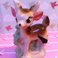 Cute china fawn figurine!! Adorable, vintage porcelain deer ornament!