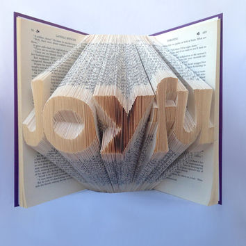 Book Art - Folded Book Art - Joyful Book Sculpture - Christmas Gift - Holiday Gift Ideas - Word Art - Home Decor - Origami - Unique Gift