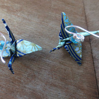 Origami Earrings - Blue & Gold Cranes with Light Blue Swarovski Crystal