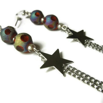 Shooting Star Earrings, Silver Toned Metal Star Charms and Chain, Glass Shimmer Bead Accents Silver Toned Nickel Free Hooks