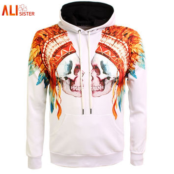 Alisister Tribal Skull Print Hoodies For Men/Women 3d Sweatshirts Europe America Style Hip Hop Hoody Outfits Tracksuits Dropship