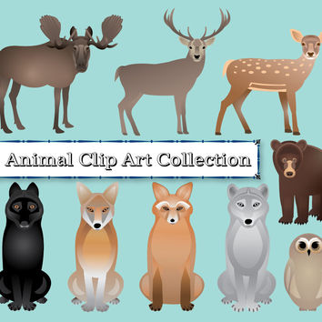 Animals Clip Art, bear, fox, owl, black wolf, gray wolf, coyote, deer, stag, moose, graphics for diy projects, digital collage sheet clipart