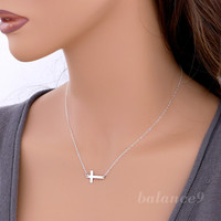 Cross Necklace, Sterling silver sideways cross charm pendant, horizontal, delicate everyday jewelry, by balance9