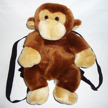 ANIMAL BACKPACK MONKEY Vintage Ajustable Straps Fits Adults Zipper on back Club Kid Hipster Seapunk Soft Grunge Bag