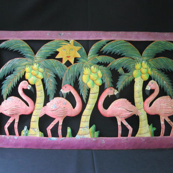 Metal Flamingo Wall Decor Chippy Metal Wall Art Tropical Themed Outdoor Paradise