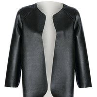 Black Open Front Jacket in Faux Leather