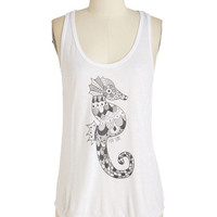 ModCloth Nautical Mid-length Tank top (2 thick straps) Coastline Equine Tank