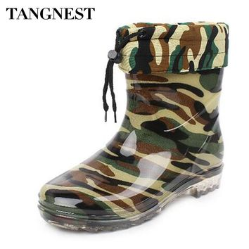 Tangnest Man's Boots Camouflage Warm Wool Mid-Calf Rain Boots Man High Quality Rubber Boots Men Platform Non-slip Shoes XMX573