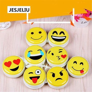 CREYLD1 NEW Portable Earphone Bag Emoji Emoticon Coin Purse Headphone Case Cable Storage Box
