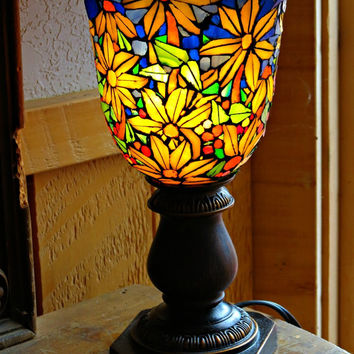 Stained Glass Lamp/ Mosaic/ Sunflowers/ Blue and Yellow/ Tiffany Style