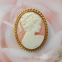 Vintage Cameo Brooch Pin, Molded Resin Brooch, Lady Woman Silhouette Jewelry