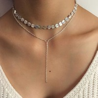 Fashion Personalized Multi Double-Deck Sequin Clavicle Necklace 171120