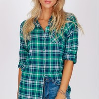 Plaid Flannel Shirt Green
