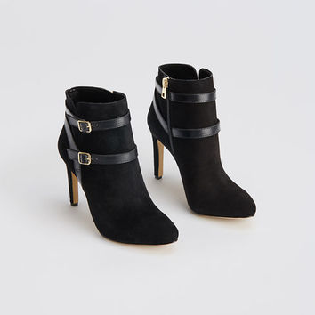 Anisa Buckled Suede Booties | Ann Taylor