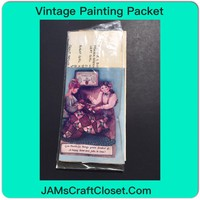 Vintage Painting Packet #10 Two Girls Sewing Quilting