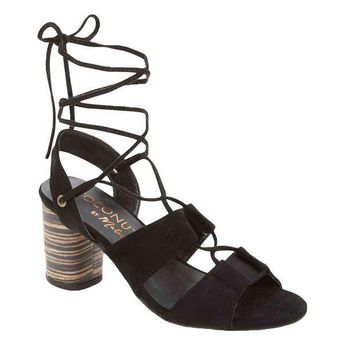 MDIGYW3 Coconuts by Matisse City Black Ankle Wrap Heels