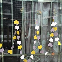 10 Feet Long Paper Sweet Heart Shaped Hanging Decoration String Paper Garland Wedding Birthday Party Baby Shower Background Decorative - White & Yellow