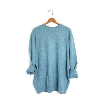 LL Bean Wool Sweater Aqua Blue Green Mens XL Boyfriend Pullover Crewneck Simple Marled Sweater