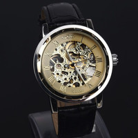 Mens Black Leather Automatic Mechanical Watch