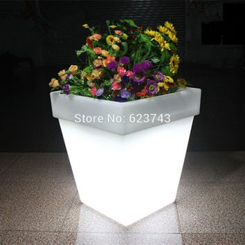 Free Shipping LED Light Flowerpot Colors Changeable Luminous flash flower pot tray indoor Outdoor illuminated Y Light plantpot