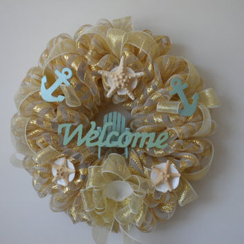Deco Mesh wreath with a beach theme by SoMeshedUp on Etsy