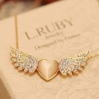 Heart Shape Angel Wing Pendant Necklace